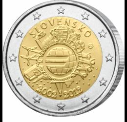 Mijlocul de plată euro are 10 ani, 2 EUR, Slovacia, 2012