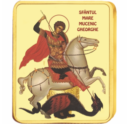 Sfântul Mare Mucenic Gheorghe - medalie icoană, placată cu aur, România