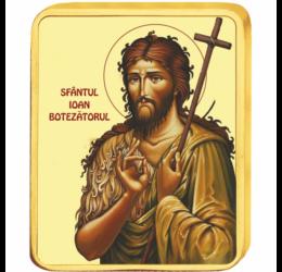 Sfântul Ioan Botezătorul - medalie icoană, placată cu aur, România