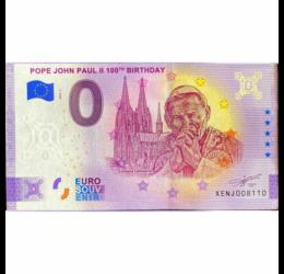 Papa Ioan Paul al II-lea, 0 euro, bancnotă suvenir, 2020