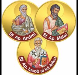 """// monede, Apostoli ai lui Hristos, set de 3 monede ambalat exclusiv, UE // Apostolii au fost cei mai apropiaţi urmaşi ai lui Iisus, învăţători primari ai mesajului Evangheliei. Cuvântul apostol înseamnă """"acela care este trimis""""."""