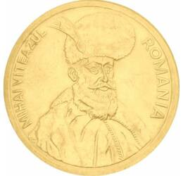 100 lei, Mihai Viteazul, placată cu aur, România, 1991-1996