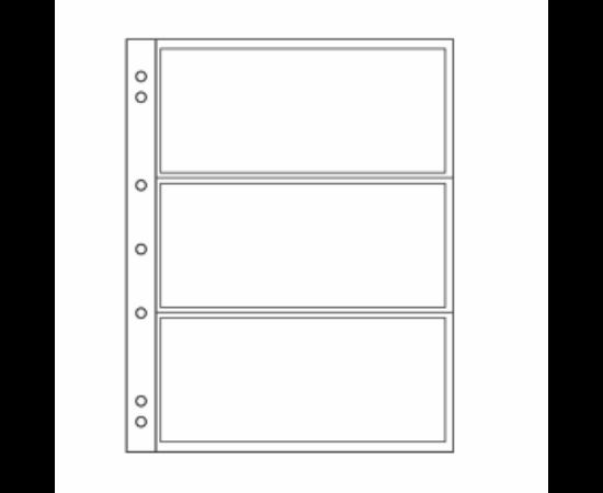 File de album NUMISBancnote, 3 buzunare, folii transparente