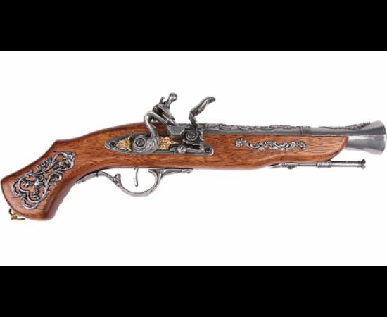 Pistol cremene, cu emblemă şi decoraţiuni, elaborat minuţios. Mecanismul numit placă cu cremene, a fost o invenţie importantă în acea vreme, a apărut încă din secolul al XVI-lea şi a fost utilizat în următoarele două secole, atât la pistoale, cât şi la pu