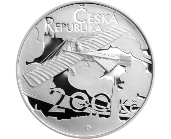 // 200 coroane, argint de 925/1000, Cehia, 2011 // - Inginerul Jan Kaspar a fost arhitectul primului avion ceh. Zborul cel mai lung al avionului – pe întreg teritoriul Monarhiei Austro-Ungare – la o înălţime de 800 de metri a fost de 121 km şi a durat 92