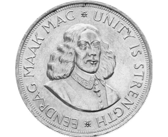 // 50 cenţi, argint de 500/1000, Republica Africa de Sud, 1961-1964 // - În secolul al XVII-lea, Olanda a obţinut multe colonii în Asia, America şi Africa. Moneda de 50 de cenţi din Africa de Sud prezintă portretul lui Jan van Riebeeck, cel care în anul 1