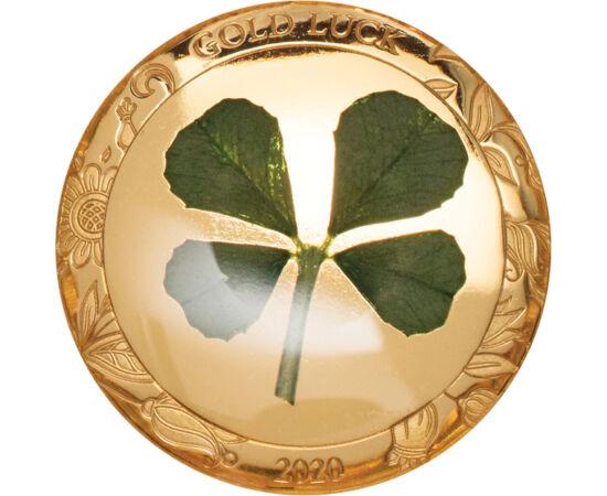 // 1 dolar, aur de 999,9/1000, Palau, 2020 // - Trifoiul cu patru foi a fost purtat în cultura celtică în postură de amuletă împotriva spiritelor malefice, iar această credinţă s-a răspândit în întreaga lume. Este demonstrat faptul, că doar unul din zece