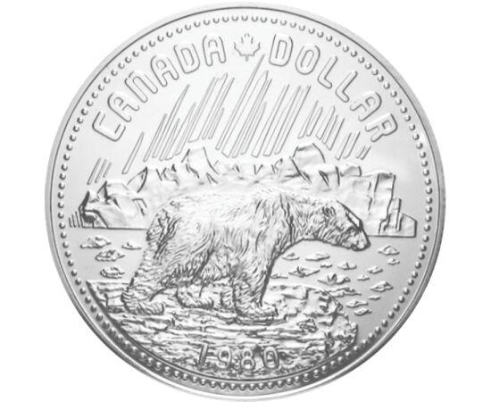 // 1 dolar, argint de 500/1000, Canada, 1980 // - Ocrotirea naturii era o tematică explorată chiar şi în secolul trecut. Acest dolar din argint emis în urmă cu 40 de ani înfăţişează un urs polar, care, deşi este cel mai mare animal al Polului Nord, e o sp