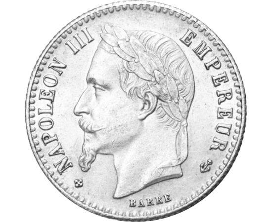 """// 50 cenţi, argint de 835/1000, Franţa, 1864-1869 // - Exilat în 1848, Luise Napoleon a devenit Preşedinte al Republicii Franceze. Aşteptările legate asupra lui sunt redate şi de Victor Hugo: """"Nu un prinţ s-a întors, ci o idee"""". Profitând de acest citat,"""
