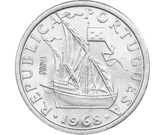 // 2,5 escudo, Portugalia, 1963-1985 // - Moneda prezintă corabia lui Vasco da Gama, care a ocolit Capul Bunei Speranţe şi a ajuns în India pe ocean, după care, Portugalia a obţinut colonii în Orientul Îndepărtat. Flota era formată din patru nave, dar num
