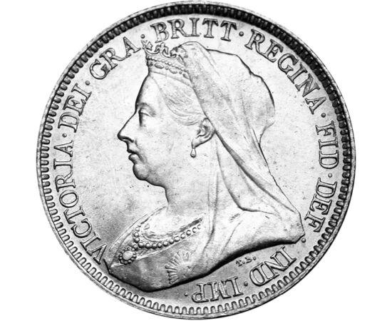 // 6 pence, argint de 925/1000, Marea Britanie, 1893-1901 // - Regina Victoria a fost cea mai longevivă regină din istorie, devenind simbolul naţiunii. Secolul al XIX-lea este cunoscută sub numele de Era Victoriană. Datorită mariajelor copiilor şi nepoţil