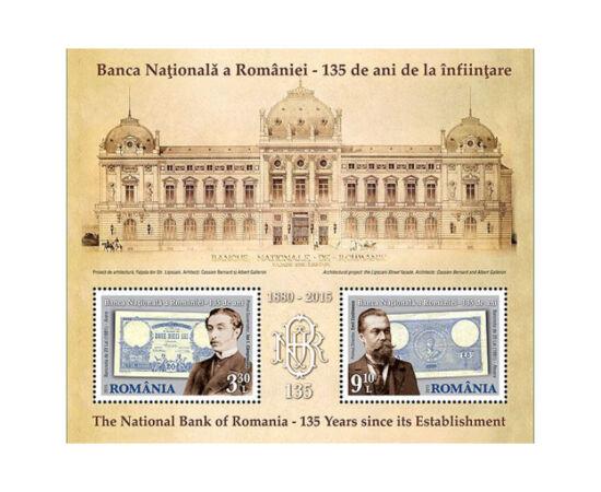 // 3,30 şi 9,10 lei, România, 2015 // - Emisiunea filatelică comemorează 135 de ani de la înfiinţarea Băncii Naţionale a României. Timbrele prezintă primul guvernator şi director al BNR şi prima bancnotă de 20 de lei emisă în anul 1881.