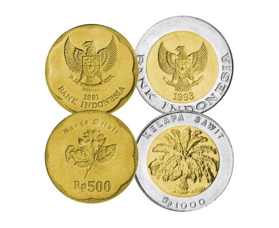 // 25, 50, 100, 500, 1000 rupii, Indonezia, 1991-2000 // - Indonezia este ţara superlativelor, fiind formată din 13.000 de insule, cultura fiind una dintre cele mai variate de pe glob, însă minunile sale naturale rămân atracţia supremă. Setul monetar este