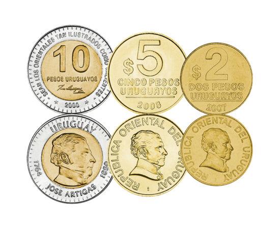 """// 10, 20, 50 centesimo, 1, 2, 5, 10 peso, Uruguay, 1994-2008 // - Uruguay este una dintre cele mai mici ţări sud-americane, dar şi cea mai dezvoltată. În 1993, apare pe monede semnul peso - litera """"S"""" tăiată cu o linie. Fiind semnul monedei de 8 reali di"""