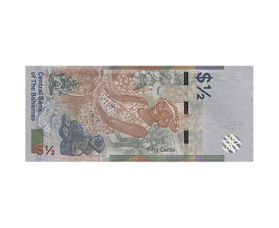 // 1/2 dolar, Insulele Bahamas, 2019 // - După bancnotele din polimer au apărut şi cele hibride. Acestea sunt confecţionate din bumbac şi îmbrăcate într-o peliculă de polimer. Astfel, bancnotele vor deveni şi mai rezistente. Insulele Bahamas sunt pionieri
