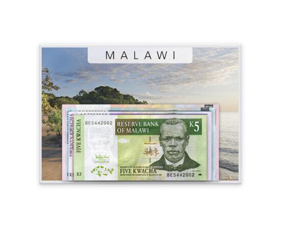 // 5, 10, 20, 50, 100 kwacha, Malawi, 2004-2011 // - Malawi este un paradis pe malul lacului Nyasa unde, datorită climei subtropicale, a apărut un microclimat aparte, iar viaţa proliferează. Pe bancnotele din Malawi, lumea tradiţională se întâlneşte cu ce