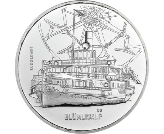 // 20 franci, argint de 835/1000, Elveţia, 2019 // - Monetăria elveţiană lansează monede din argint cu vapoarele lor istorice. Cea mai recentă este cea de 20 de franci decorată cu vaporul Blümlisalp, care, în vremurile sale, era de neîntrecut în dimensiun