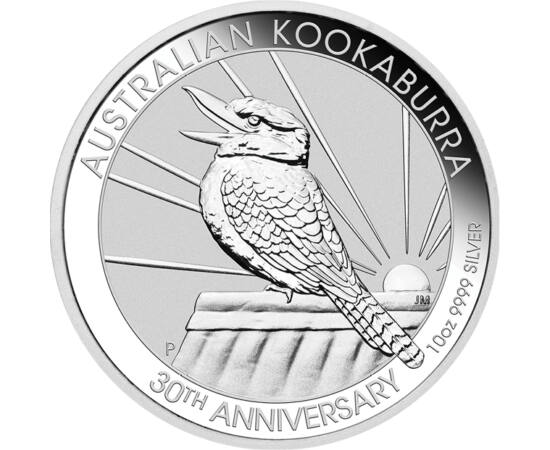 // 10 dolari, argint de 999,9/1000, Australia, 2020 // - Monetăria din Australia emite de 30 de ani monede din argint pur pe care apare pasărea care râde, Kookaburra. Moneda jubiliară din argint de mărime gigantică, înfăţişează pe avers cea mai recentă im