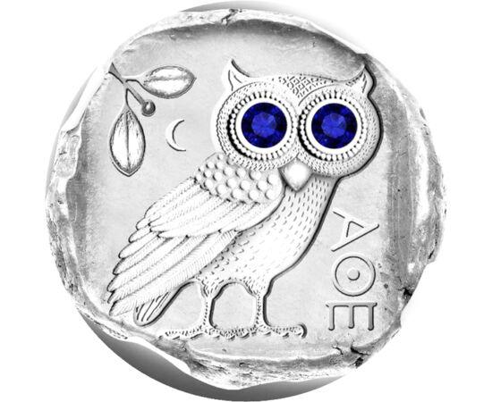 // 2 dolari, argint de 925/1000, Insulele Fiji, 2019 // - Bufniţa, ca simbol al înţelepciunii şi al cunoaşterii de-a lungul secolelor, a decorat monedele greceşti. În grecia antică, a fost pasărea zeiţei Pallas Athena, zeiţa protectoare a artelor frumoase