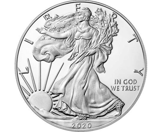 """// 1 dolar, argint de 999/1000, SUA, 2020 // - Cea mai cunoscută şi mai îndrăgită monedă de investiţie! Primul vultur de argint a fost proiectat de Monetăria SUA în 1986. De atunci, moneda este emisă în fiecare an, pe avers având faimosul motiv """"Walking L"""