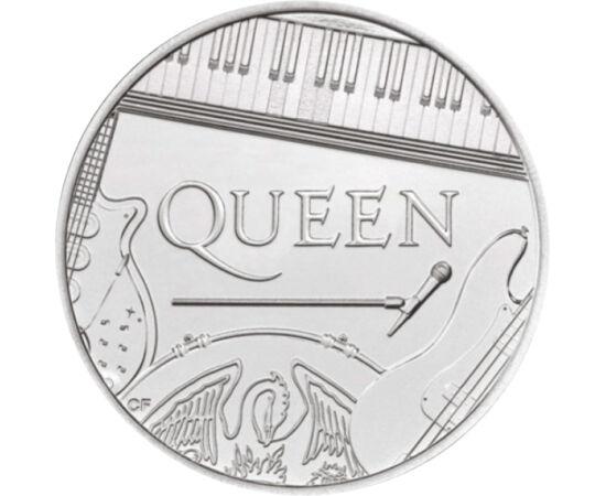 """// 5 lire, Marea Britanie, 2020 // - Acum 50 de ani, în anul 1970 s-a format legendara formaţie rock britanică, Queen. Pe aversul monedei este înfăţişată Regina Elisabeta a II-a, pe revers """"regina"""" Queen, dar din respect, cu instrumentele lor şi nu cu por"""