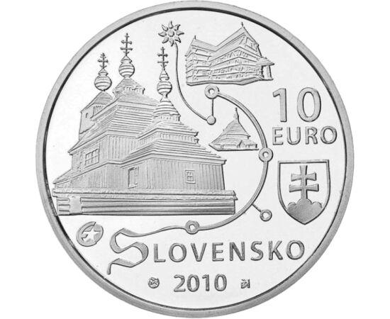 // 10 euro, argint de 900/1000, Slovacia, 2010 // - În anul 2008, mai multe biserici din lemn din Slovacia au fost introduse în patrimoniul mondial UNESCO. Aici, tradiţia construcţiilor realizate din lemn a fost preluată atât de biserica catolică romană ş
