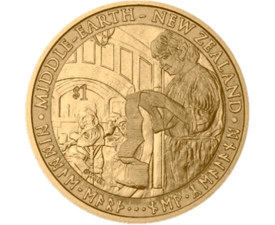 // 1 dolar, Noua Zeelandă, 2012 // - Hobbitul este un roman SF pentru copii, scris de J. R. R. Tolkien, care a primit în Regatul Unit premiul pentru cea mai bună carte de ficţiune pentru copii. Pe monedă apare Bilbo Baggins, personajul principal al aceste
