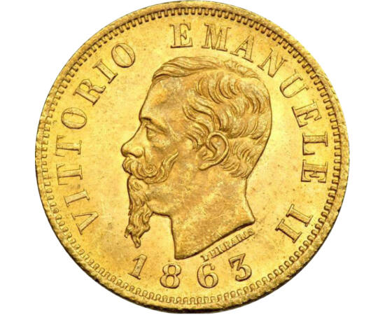 // 10 lire, aur de 900/1000, Italia, 1863-1865 // - Cine s-ar fi gândit că Italia abia a împlinit 150 de ani! După unificarea statelor italiene de către Garibaldi, acesta a predat conducerea militară prinţului Piemontului, Victor Emanuel al II-lea. Astfel