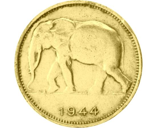 // 1 franc, Congo-ul Belgian, 1944-1949 // - Congo-ul Belgian a fost colonie belgiană în inima Africii între 1908-1960. Datorită mineritului uraniului, care a devenit semnificativ în anii celui de-Al Doilea Război Mondial, această ţară a căpătat un rol ex