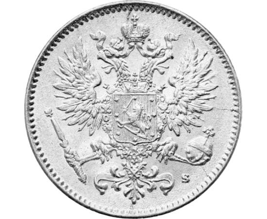// 50 pennia, argint de 750/1000, Finlanda, 1907-1917 // - La începutul secolului al XIX-lea, ţarul Alexandru I a ocupat Finlanda, care în cadrul Imperiului ţarist a fost mare principat până în 1917. Această monedă de 50 de pence a fost bătută în ultimii
