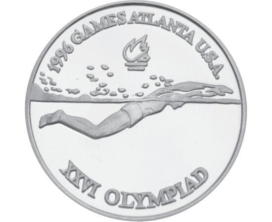 // 100 lei, argint de 925/1000, România, 1996 // - Anul 1996 a fost un an remarcabil pentru România la JO, care s-au desfăşurat în SUA, Atlanta. Sportivii români au obţinut în total 20 de medalii, clasificându-se pe locul 14. Această monedă din argint rep