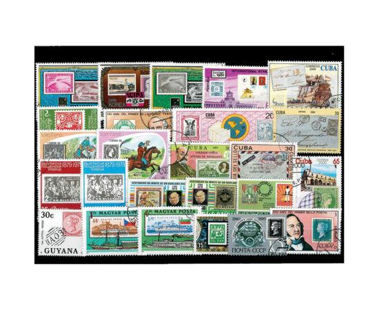// Set de 25 de timbre, ţara diferă,  // - Pe aceste emisiuni apar timbre vechi, valoroase, cum ar fi celebrul Penny Black, primul timbru din lume. O selecţie unică de timbre cu diferite teme, din ţări egzotice şi europene, aşezate pe carton negru cu foli