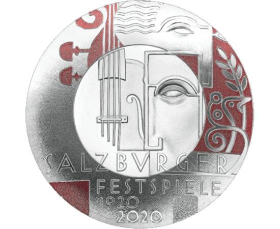// 20 euro, argint de 925/1000, Austria, 2020 // - Festivalul de la Salzburg este organizat încă din anul 1920. Timp de 5 săptămâni, în rolurile principale găsim muzica clasică, opera şi teatrul. Moneda comemorativă cu formă specială întâmpină cu demnitat