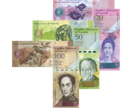 // 2, 5, 10, 20, 50, 100 bolivar, Venezuela, 2007-2015 // - Bancnotele speciale din Venezuela sunt foarte neobişnuite. Partea care reprezintă eroii naţionali este realizată vertical, iar animalele, băştinaşii protejaţi, nevinovaţi ai ţării, sunt imprimate