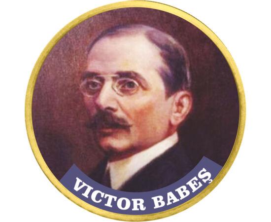 // 50 cenţi, Uniunea Europeană, din 2009 // - Victor Babeş a fost un om de ştiinţă, bacteriolog român, autorul primului tratat de bacteriologie din lume. A desfăşurat activitate largă în cercetarea leprei, pelagrei şi a tuberculozei, iar în anul 1900 a în