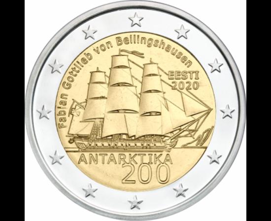 // 2 euro, Estonia, 2020 // - În anul 1819, Fabian Gottlieb von Bellingshausen a fost desemnat conducător al expediţiei la Polul Sud. El a fost cel care a zărit pentru prima oară, în 28 ianuarie 1820 Antarctica. În cursul cercetărilor, a navigat în jurul