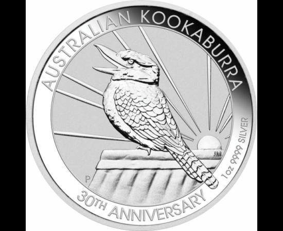 // 1 dolar, argint de 999,9/1000, Australia, 2020 // - Monetăria din Australia emite de 30 de ani monede din argint pur pe care apare pasărea care râde, Kookaburra. Moneda jubiliară din argint înfăţişează pe avers cea mai recentă imagine a păsării exotice
