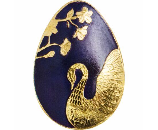 """// 1 dolar, aur de 999,9/1000, Palau, 2019-2020 // - O splendidă monedă concavă din aur pur, în formă de ou. Fundalul albastru regal scoate în evidenţă lebăda şi florile de primăvară. O """"bijuterie"""" minunată, în adevăratul sens al cuvântului."""