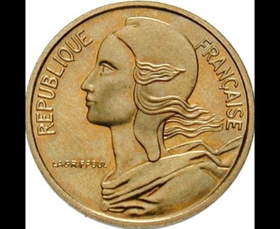 // 5 centime, Franţa, 1966-2001 // - Marianne cu boneta frigiană a libertăţii este simbolul Franţei. În Roma Antică, numai oamenii liberi au avut drept la acoperirea capului, nu şi sclavii. În Revoluţia Franceză, Marianne şi boneta frigiană au unit idealu
