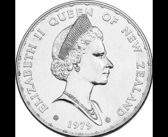 // 1 dolar, Noua Zeelandă, 1979 // - Ţara cea mai izolată a lumii este Noua Zeelandă. Populaţia indigenă maori s-a stabilit aici doar în secolul al XIII-lea. În 1947 şi-a căpătat independenţa, dar şi în zilele noastre, pe reversul monedelor apare portretu