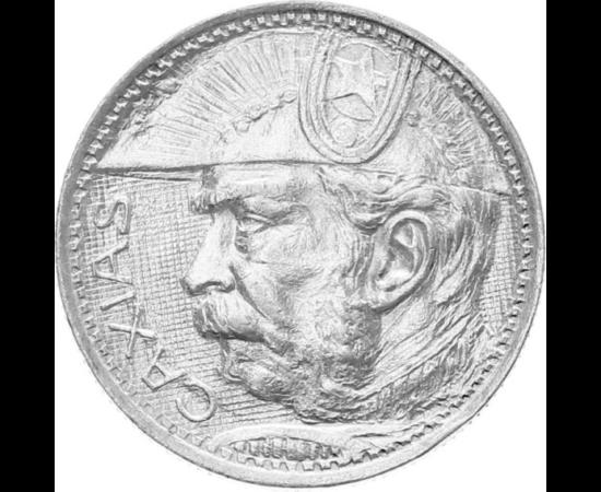 // 2000 reis, argint de 500/1000, Brazilia, 1935 // - Perioada de activitate a ofiţerului brazilian Luis Alves de Lima, prinţul Caxias, poreclit şi Prinţul de Fier, a fost una extrem de sângeroasă, cu multe răscoale. Moneda de 85 de ani aduce omagiu eroul