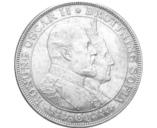 // 2 coroane, argint de 800/1000, Suedia, 1907 // - Oscar al II-lea, regele Suediei şi Norvegiei, s-a căsătorit cu prinţesa Sophia la 6 iunie 1857. În 1907, ei au sărbătorit 50 de ani de mariaj printr-o superbă monedă comemorativă de argint.