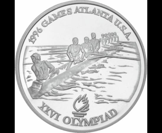 // 100 lei, argint de 925/1000, România, 1996 // - La JO de vară din 1996, România a ocupat locul 14 în clasamentul de medalii. Ca urmare a rezultatelor sportivilor noştri, ne mândrim cu două medalii de aur la canotaj, dublu vâsle. Monedă de argint în ami