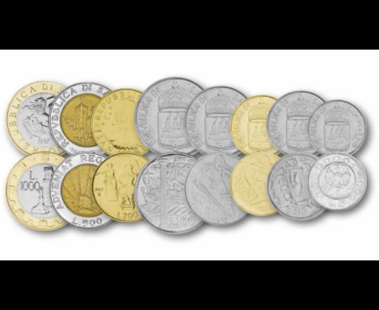 // 5, 10, 20, 50, 100, 200, 500, 1000 Lire, San Marino, 1973-1997 // - Italia înconjoară una dintre cele mai mici republici din lume. Constituţia acesteia din 1244 este una dintre cele mai vechi din întreaga lume. Chiar dacă circuitul de Formula 1 din Imo
