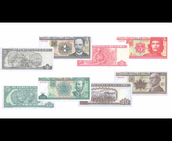 // 1, 3, 5, 10 peso, Cuba, 2002-2015 // - Cuba este situată pe cea mai mare insulă din Antile şi este considerată ţara salsei, a romului alb şi a trabucului. Aici a atins pământul în anul 1492 Cristofor Columb. Pe bancnote sunt înfăţişate portretele celor