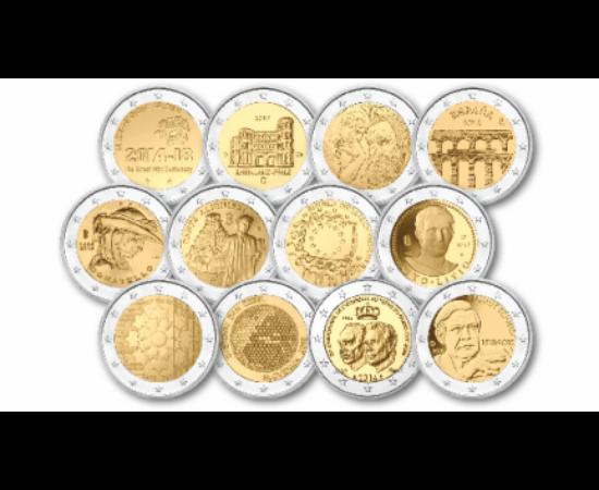 // 2 euro, Uniunea Europeană, 2002-2020 // - Ţările din zona euro pot emite doar două monede comemorative de 2 euro pe an. Aversul acestora au aceleaşi caracteristici ca şi monedele obişnuite de 2 euro, iar partea naţională comemorează aniversări importan