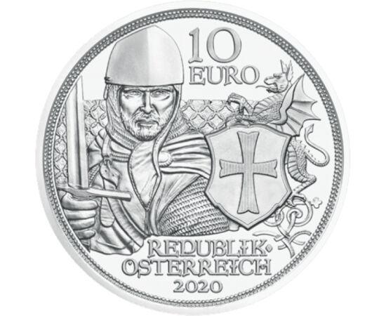 // 10 euro, argint de 925/1000, Austria, 2020 // - Viaţa cavalerilor templieri era o combinaţie între viaţa pură, pioasă a călugărilor şi cea a cavalerilor curajoşi, o viaţă fără compromisuri. Existenţa acestor luptători de elită a fost înconjurată de sut