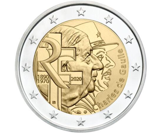 // 2 euro, Franţa, 2020 // - Charles de Gaulle a fost un general proeminent în istoria franceză, un simbol al Franţei libere. Cu ocazia aniversării a 130 de ani de la naştere şi 50 de ani de la deces, pe cea mai nouă monedă de 2 euro apare portretul juven