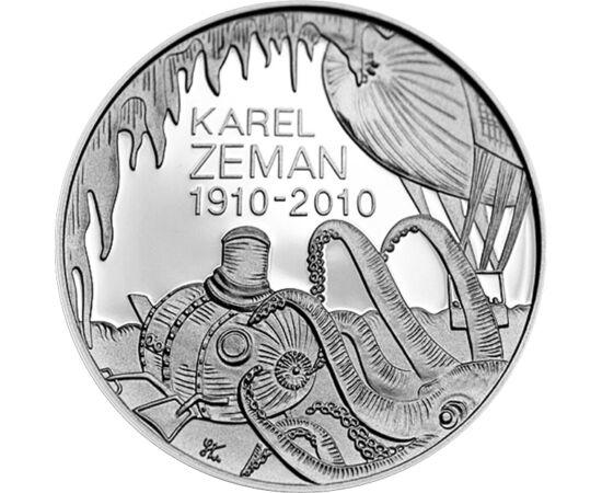 // 200 coroane, argint de 900/1000, Cehia, 2010 // - În 2010, Banca Naţională a Cehiei a adus un omagiu regizorului Karel Zeman, cu ocazia împlinirii a 100 de ani de la naşterea sa. Ca un adolescent cu spirit de aventură, regizorul a fost pasionat de oper