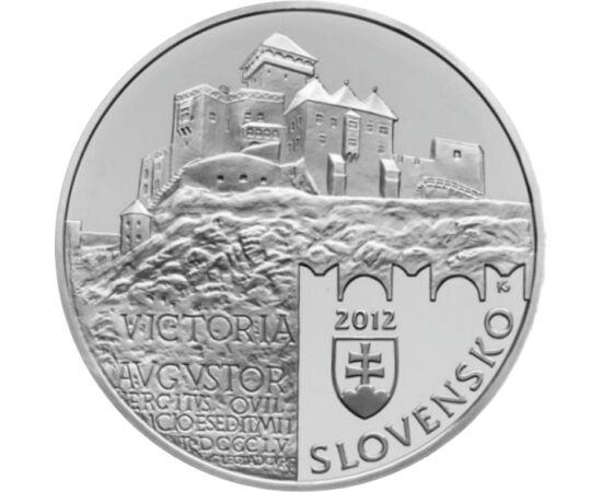 // 20 euro, argint de 925/1000, Slovacia, 2012 // - Cel mai vechi castel din Slovacia este Castelul Trencin. Se datează din secolul al XIII-lea, când a fost reşedinţa magnatului Matei Csak. Castelul era o adevărată fortăreaţă, cu un turn înalt, de peste 5